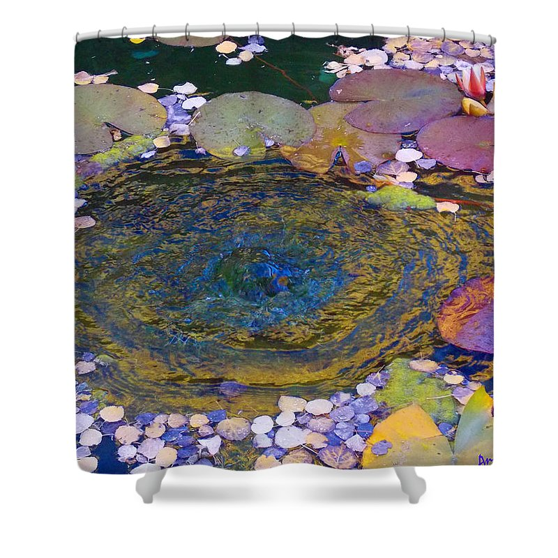 Lily Pond Shower Curtain featuring the photograph Agape Gardens Autumn Waterfeature by Anastasia Savage Ealy