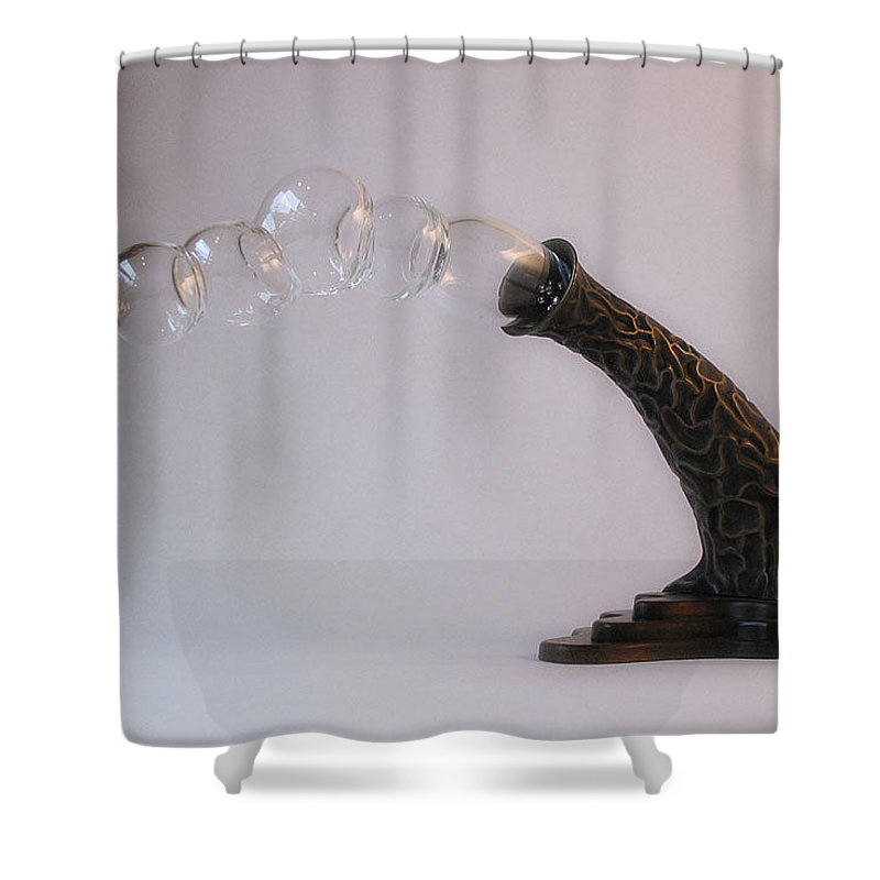 Bronze Shower Curtain featuring the sculpture Agaricia Bullio by Patricia Van Lubeck
