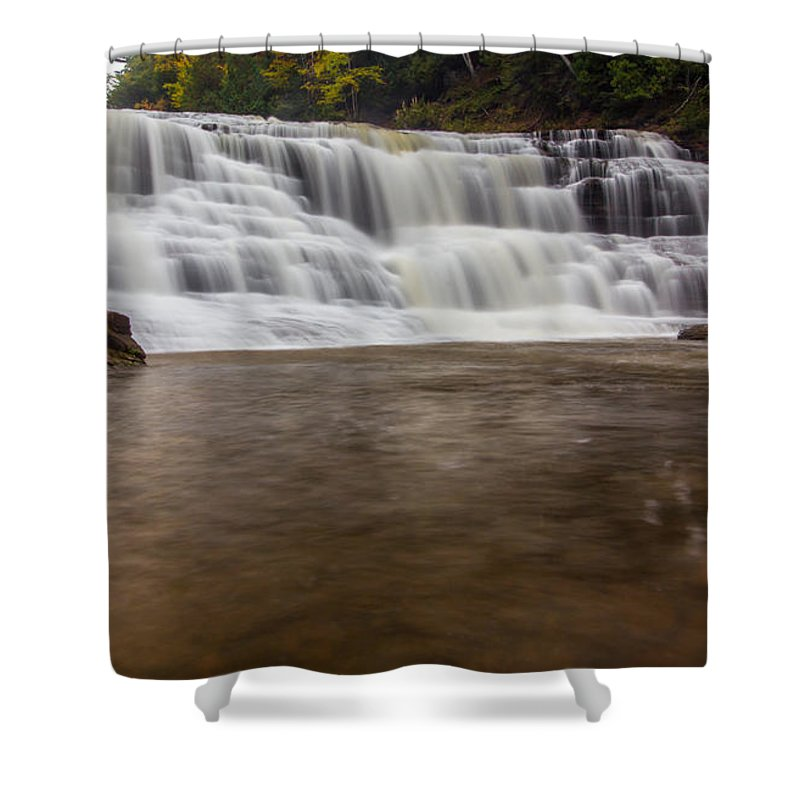 Waterfalls Shower Curtain featuring the photograph Agate Falls by Russell Johnson