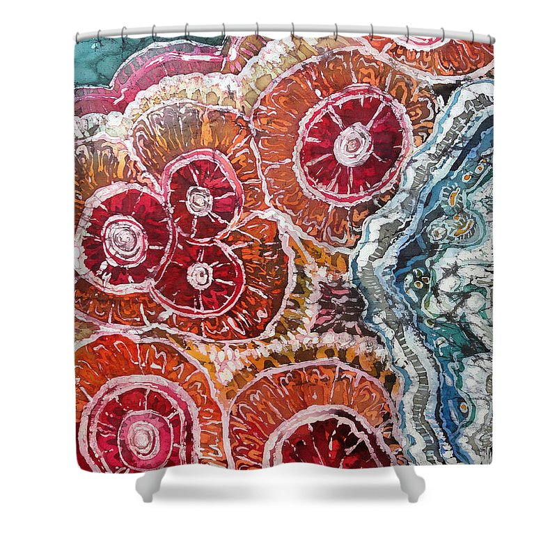 Agates Shower Curtain featuring the painting Agate Inspiration - 16a by Sue Duda