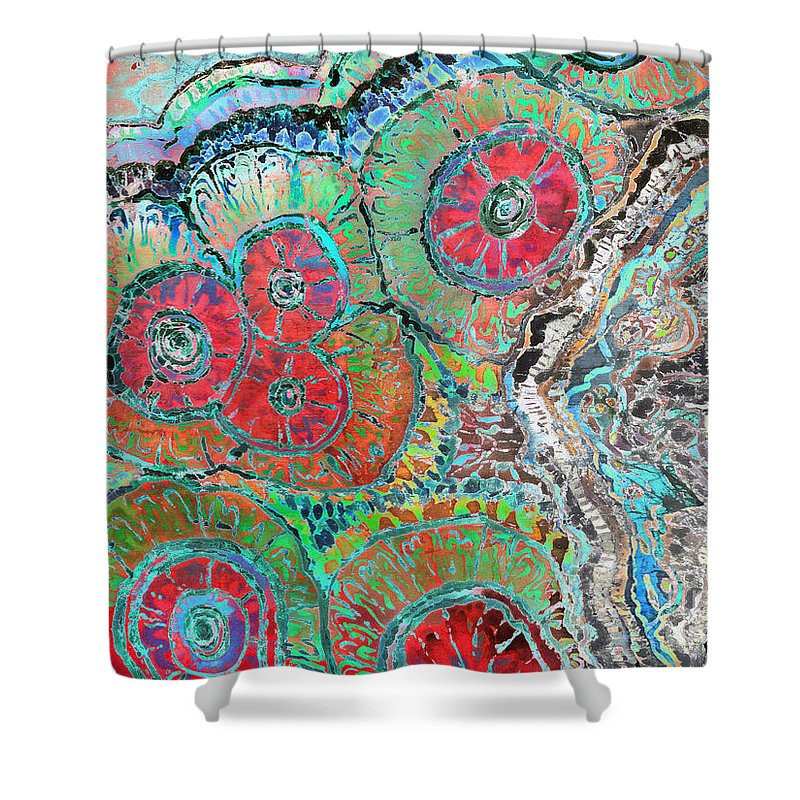 Agates Shower Curtain featuring the painting Agate Inspiration - 16b by Sue Duda