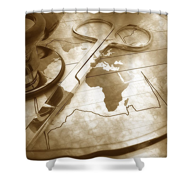 Map Shower Curtain featuring the photograph Aged Medical Tools by Phill Petrovic