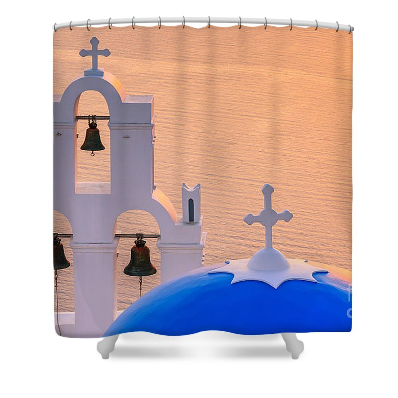 Aegean Shower Curtain featuring the photograph Aghioi Theodoroi Church At Firostefani, Santorini by Henk Meijer Photography