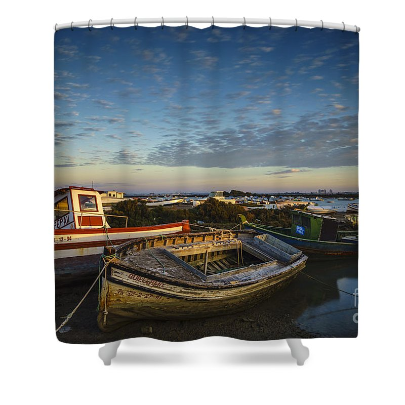 Andalucia Shower Curtain featuring the photograph Aging Boats On Trocadero Pipe Puerto Real Cadiz Spain by Pablo Avanzini