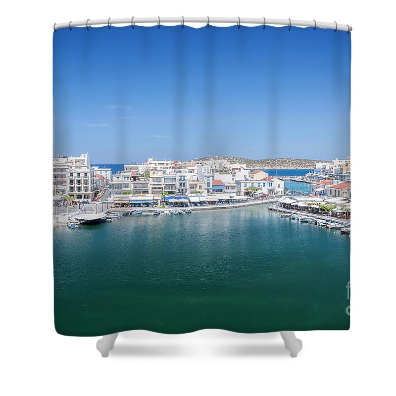 Greece Shower Curtain featuring the photograph Agios Nikolaos Overview by Antony McAulay