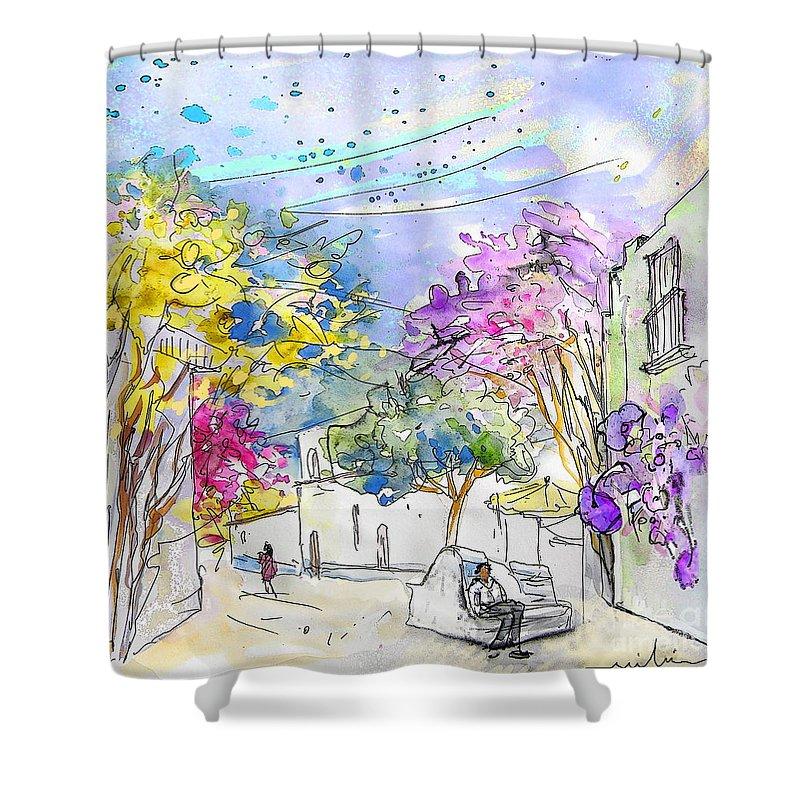 Agua Amarga Shower Curtain featuring the painting Agua Amarga 12 by Miki De Goodaboom