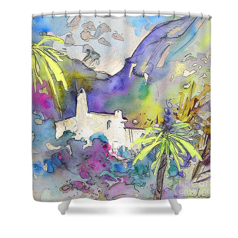 Agua Amarga Fantasy Shower Curtain featuring the painting Agua Amarga Fantasy 02 by Miki De Goodaboom