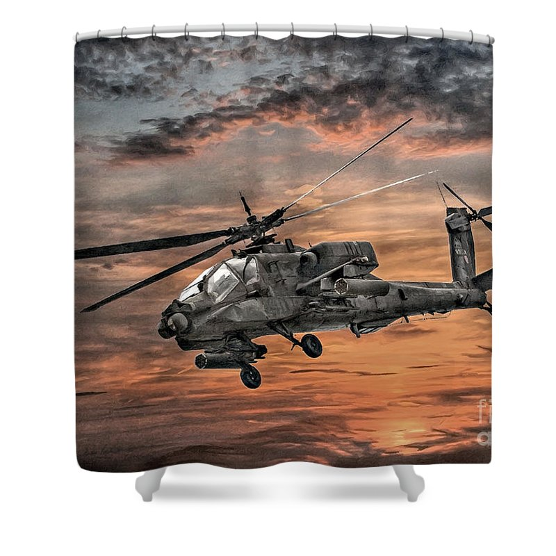 U.s. Army Shower Curtain featuring the digital art Ah-64 Apache Attack Helicopter by Randy Steele