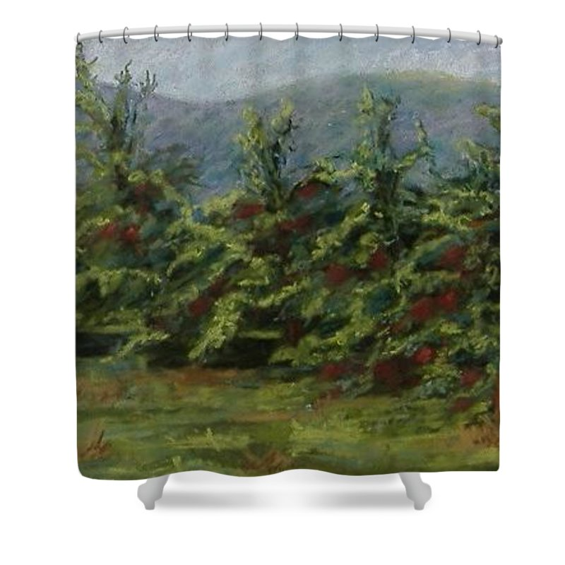 Apple Trees Shower Curtain featuring the pastel Ah The Apple Trees by Pat Snook