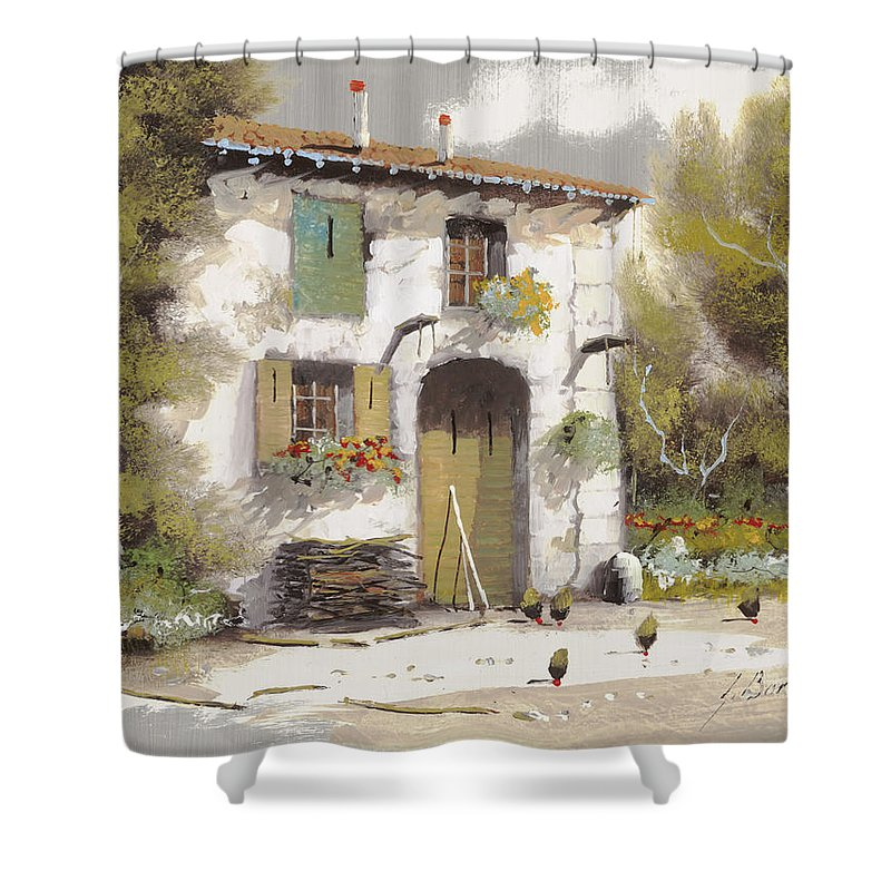 Country Shower Curtain featuring the painting AIA by Guido Borelli