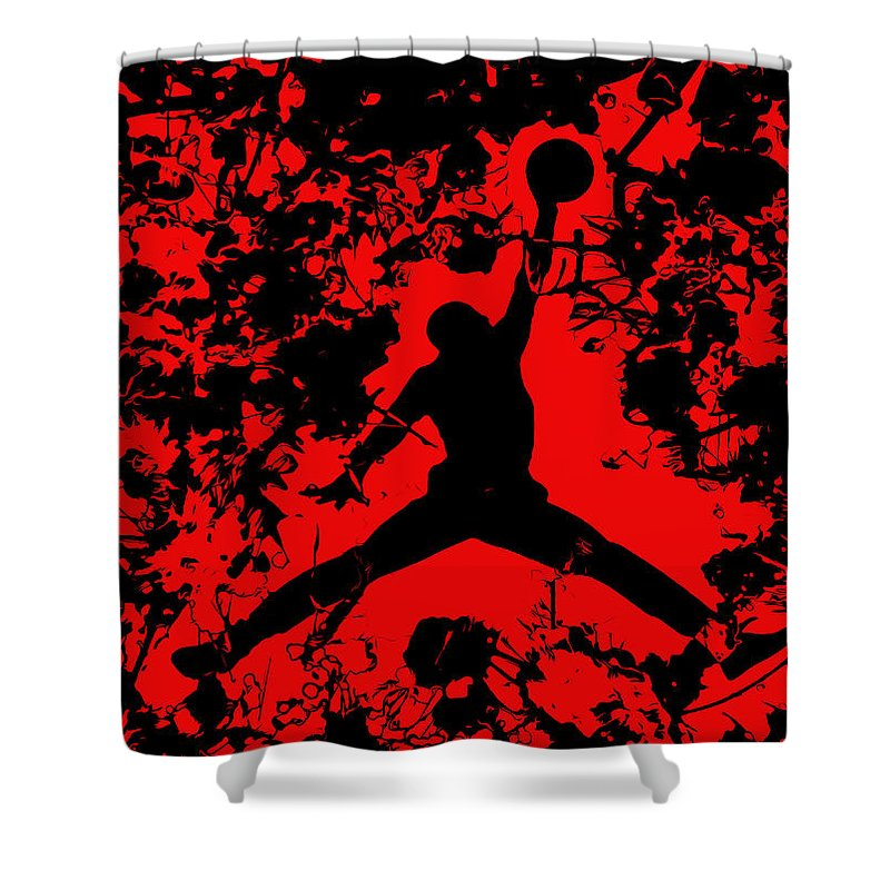 Michael Jordan Shower Curtain Featuring The Painting Air 1b By Brian Reaves