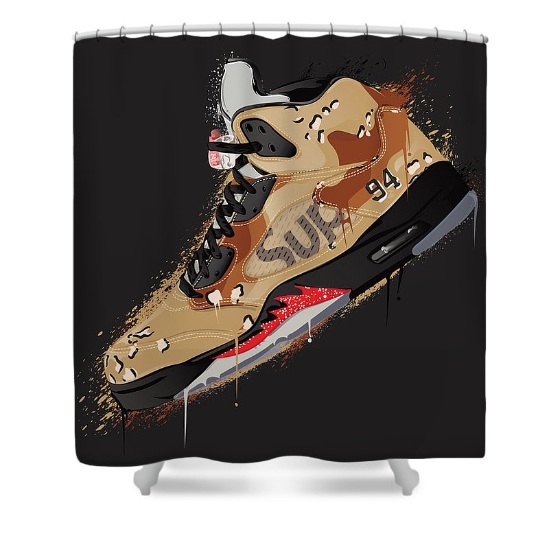 Vector Shower Curtain Featuring The Digital Art Air Jordan 5 Retro Supreme Desert Camo By Tec