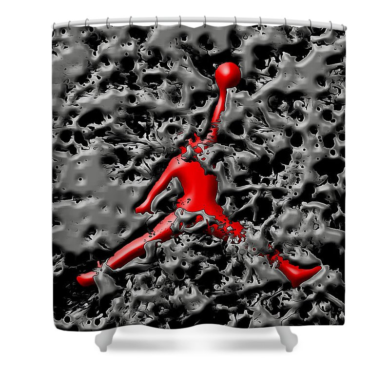 Michael Jordan Shower Curtain featuring the mixed media Air Jordan 5h by Brian Reaves