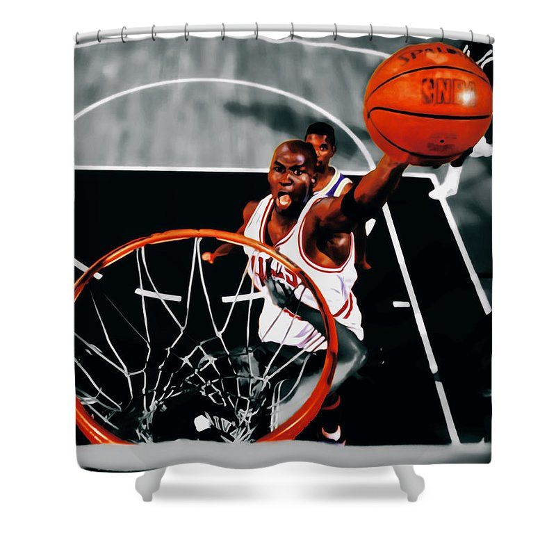 Michael Jordan Shower Curtain featuring the digital art Air Jordan Above The Rim by Brian Reaves