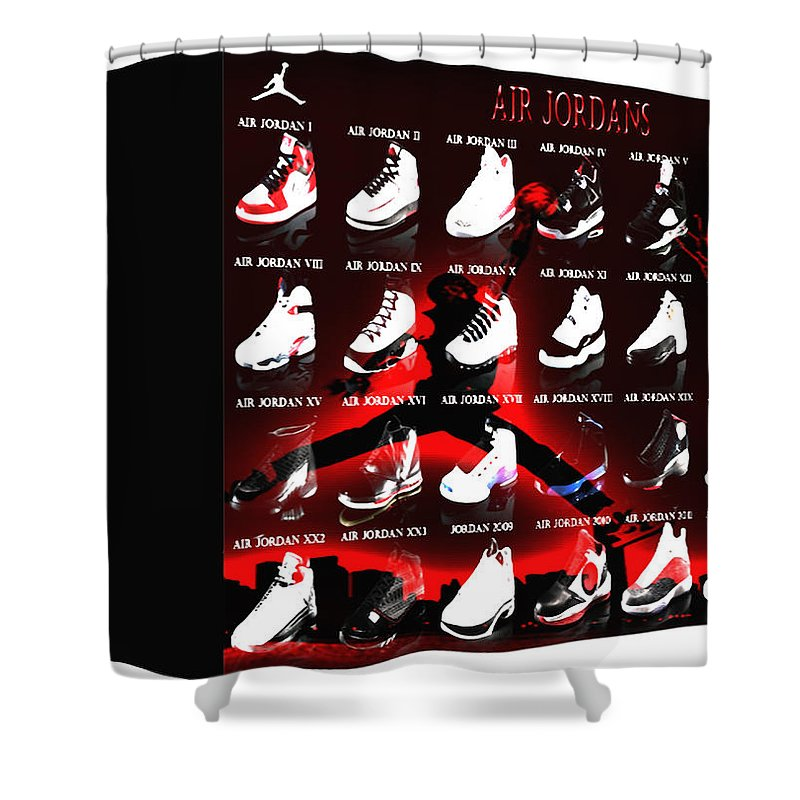 Michael Jordan Shower Curtain Featuring The Digital Art Air Shoe Gallery II By Brian Reaves