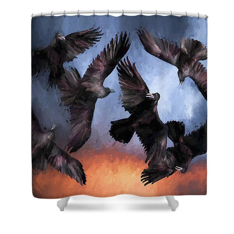 Fine Art Shower Curtain featuring the painting Airborne Unkindness by David Wagner