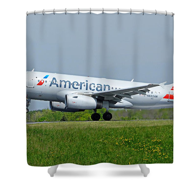 Airbus Shower Curtain featuring the photograph Airbus A319 by Guy Whiteley