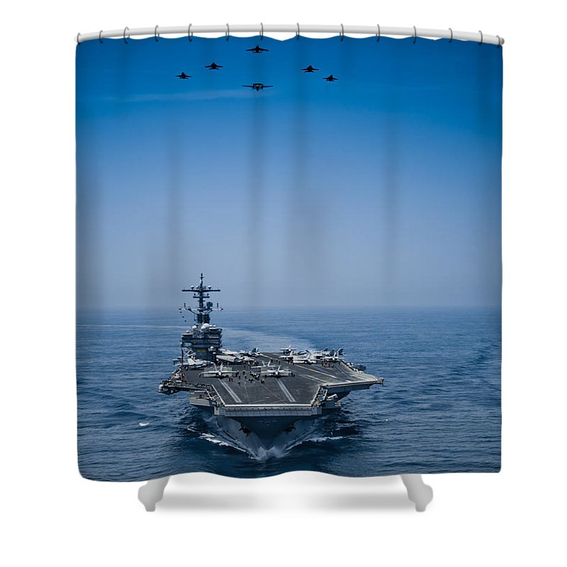 Marine Shower Curtain featuring the photograph Aircraft From Carrier Air Wing by Celestial Images