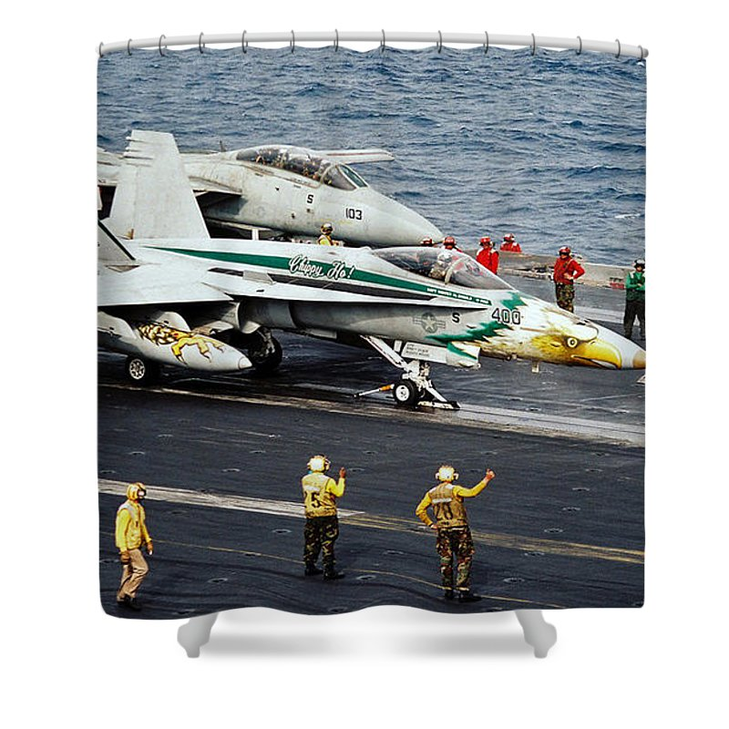 Aircraft Planes F18 Cat Shower Curtain featuring the photograph Aircraft Planes F18 Cat by R Muirhead Art