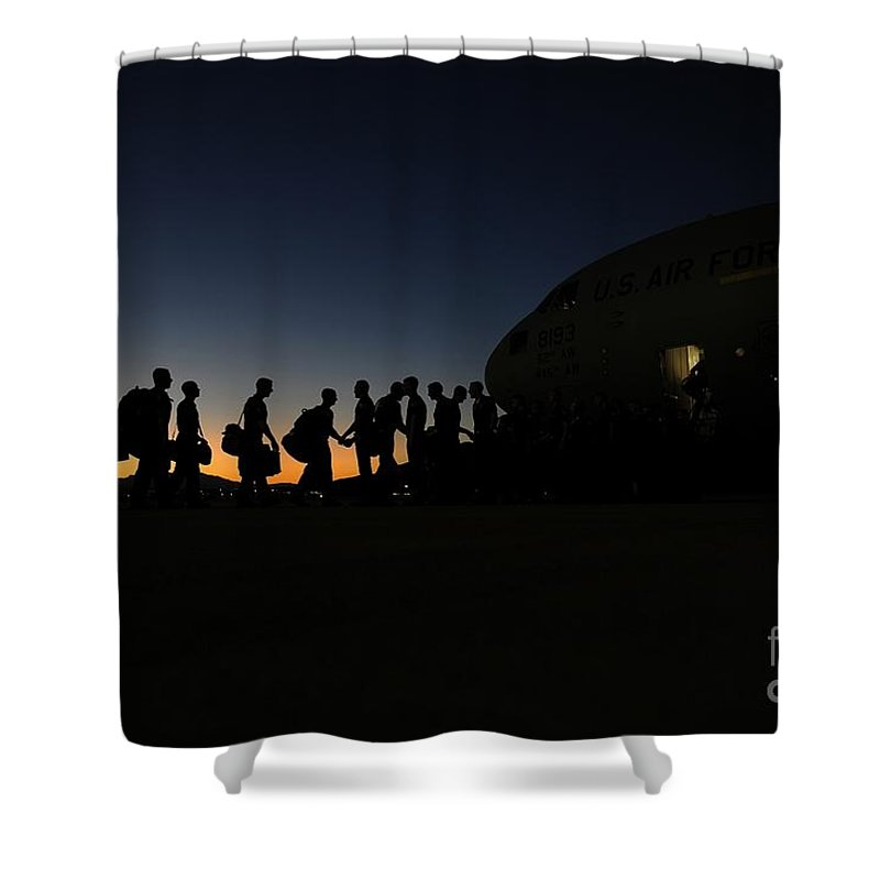 Airmen Boarding Shower Curtain featuring the painting Airmen Boarding by Celestial Images