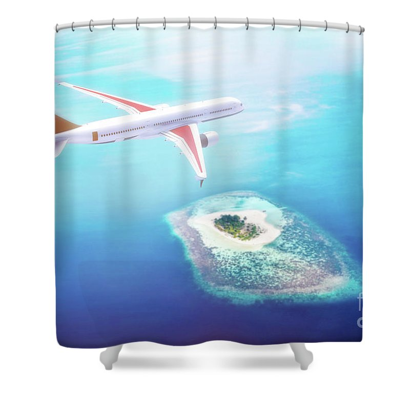 Airplane Shower Curtain featuring the photograph Airplane Flying Over Maldives Islands On Indian Ocean. Travel by Michal Bednarek