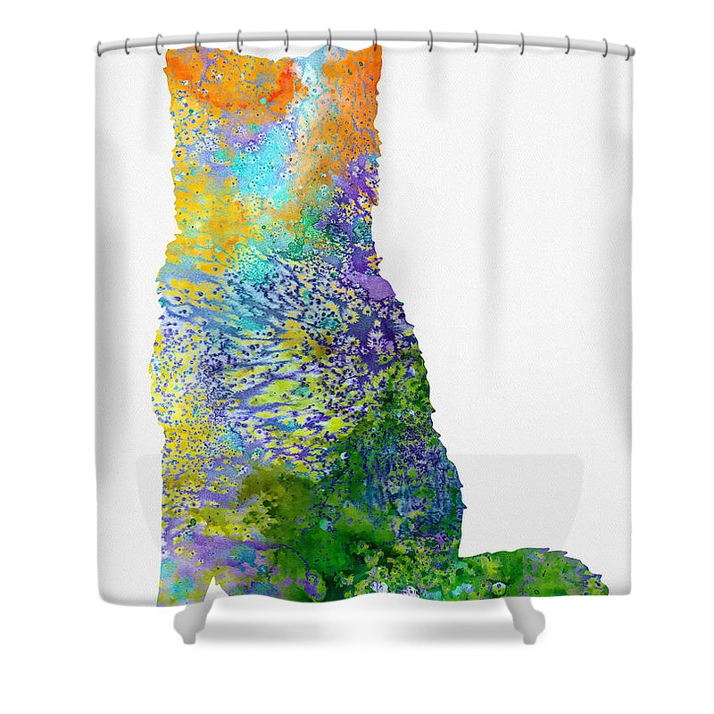 Akita Inu Shower Curtain featuring the digital art Akita Inu by Erzebet S