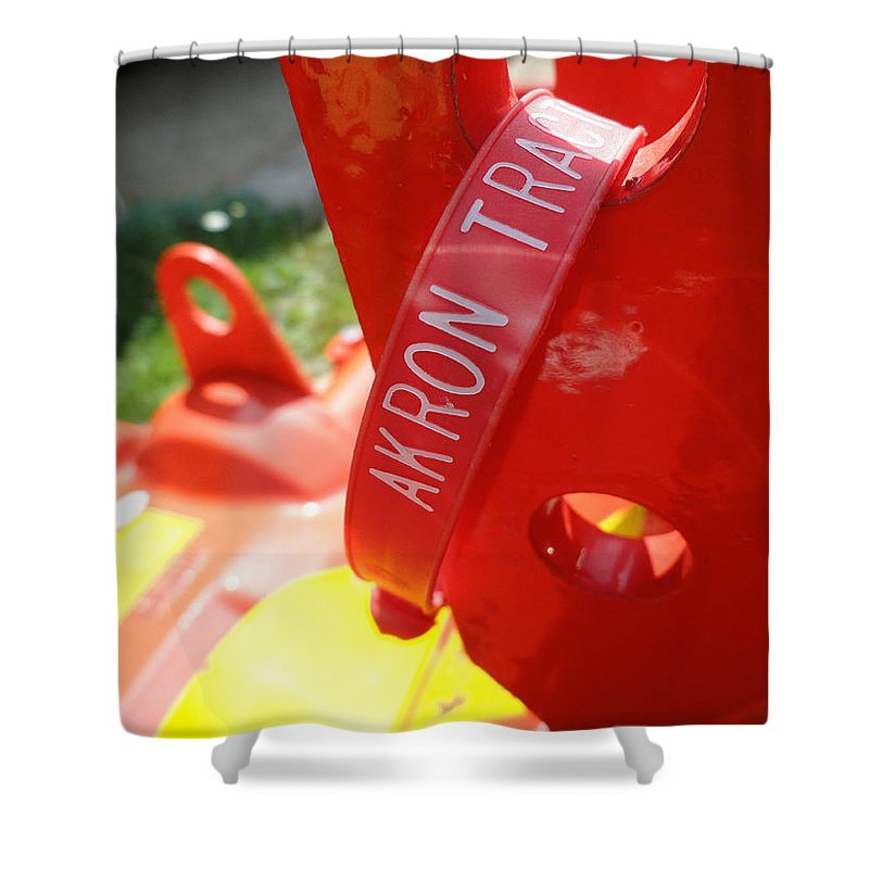 Red Shower Curtain featuring the photograph Akron Tractor by Trish Hale