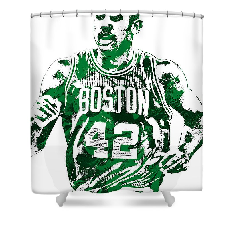 Al Horford Shower Curtain featuring the mixed media Al Horford Boston Celtics Pixel Art by Joe Hamilton