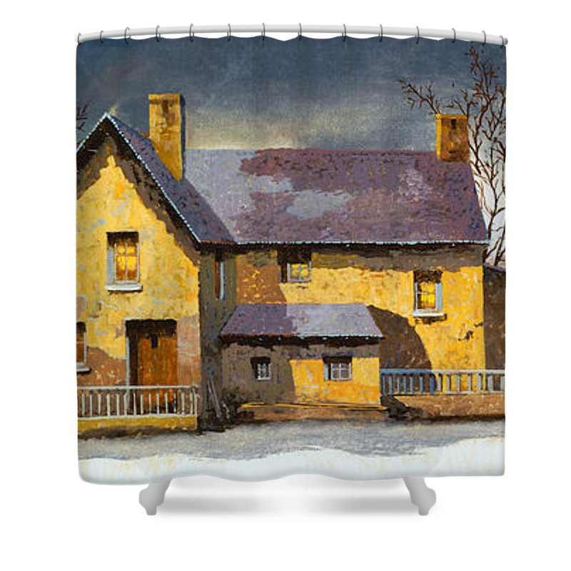 Landscape Shower Curtain featuring the painting Al Mattino by Guido Borelli