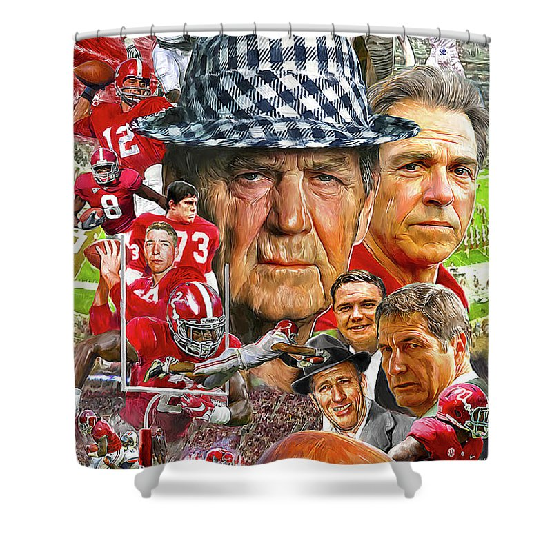 Alabama Football Shower Curtain Featuring The Painting Crimson Tide By Mark Spears