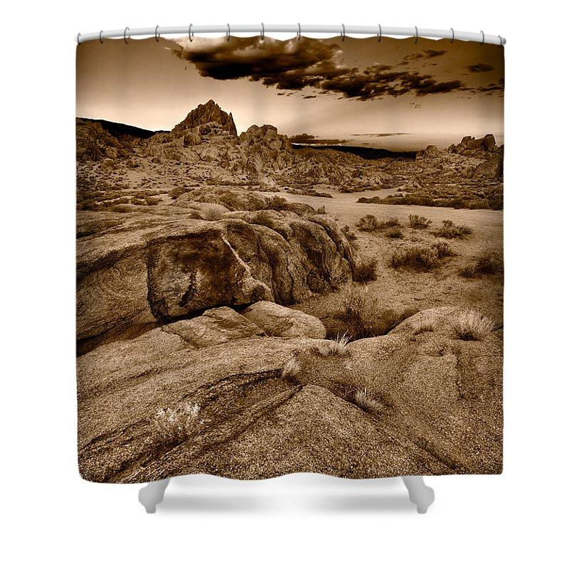 Alabama Shower Curtain featuring the photograph Alabama Hills California B W by Steve Gadomski