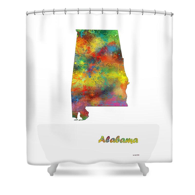 Alabama State Map Shower Curtain featuring the digital art Alabama State Map by Marlene Watson