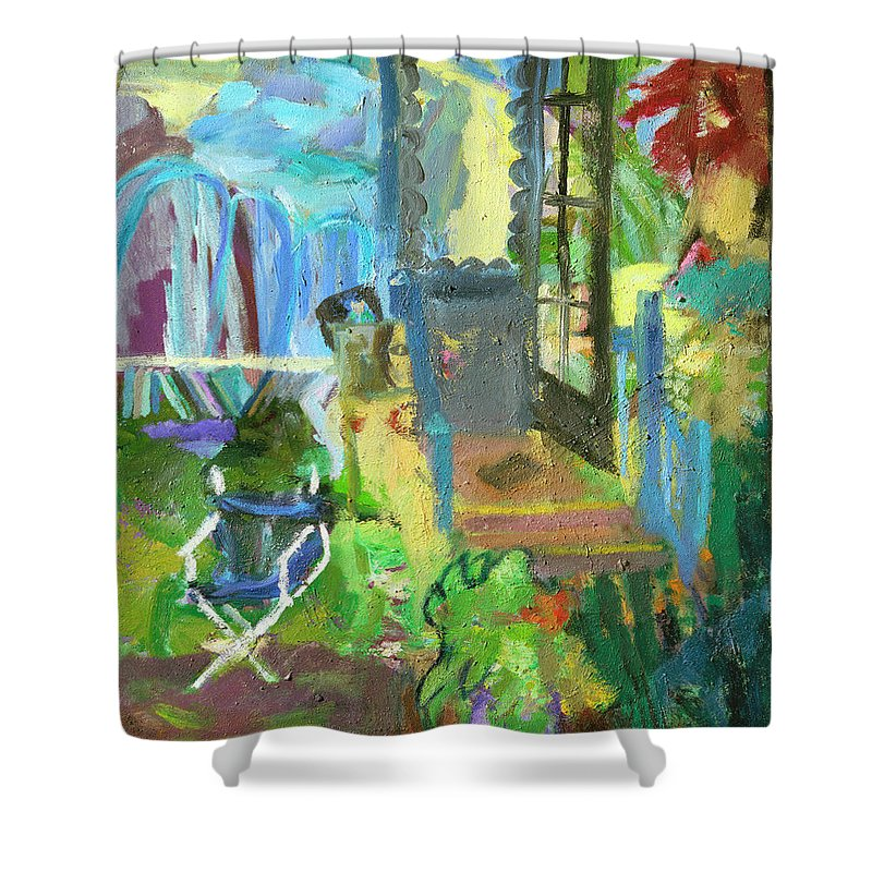 Interior Shower Curtain featuring the painting Alain's Studio by Regina Gately