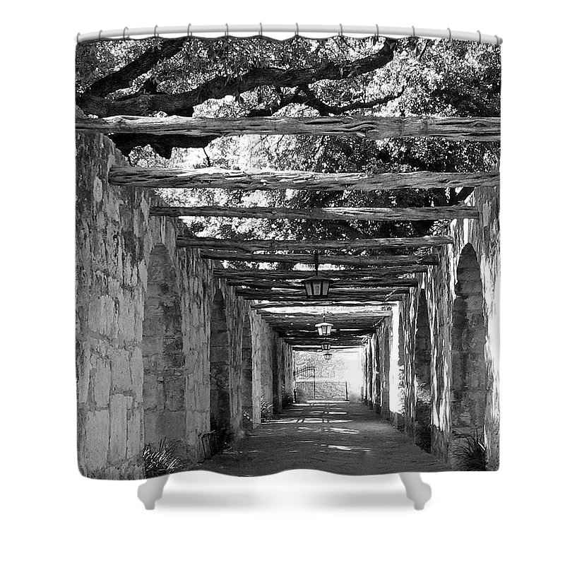 Alamo Corridor Shower Curtain featuring the photograph Alamo Corridor by Debbie Karnes