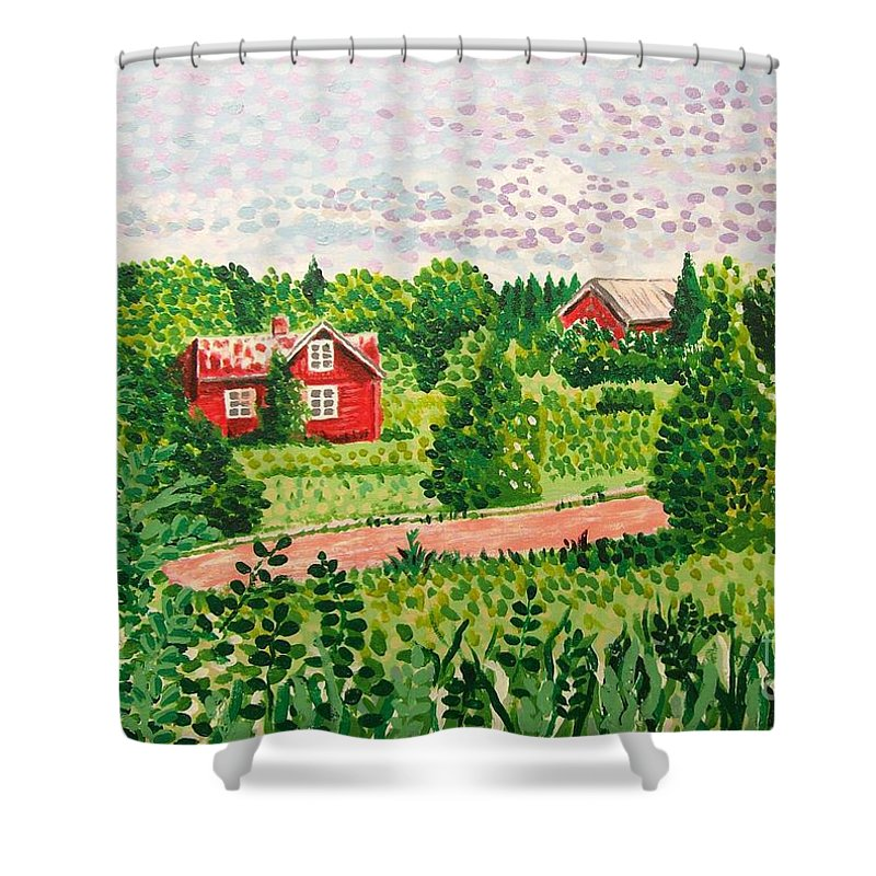 Aland Shower Curtain featuring the painting Aland Landscape by Alan Hogan