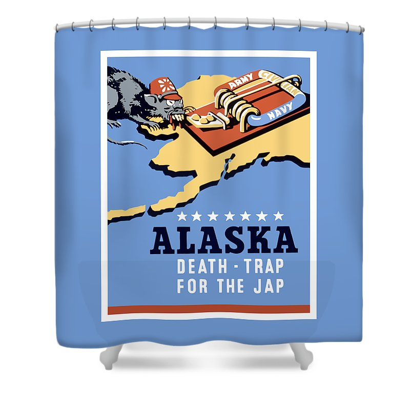 Alaska Shower Curtain featuring the painting Alaska Death Trap by War Is Hell Store