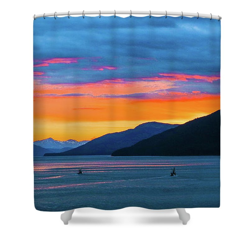 Sunset Shower Curtain featuring the photograph Alaska Fishermans Sunset by Jason Brooks