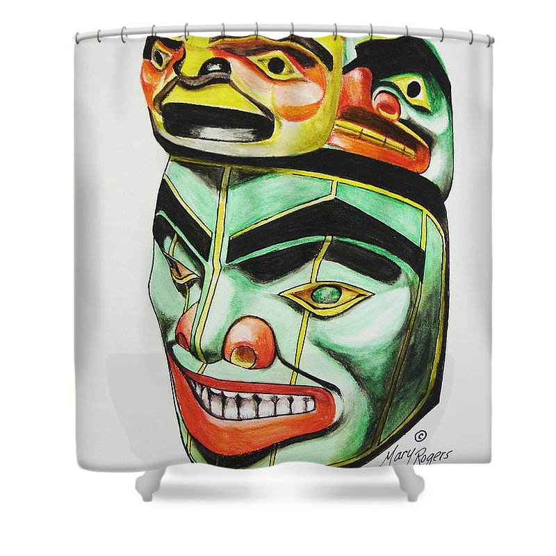 Alaska Shower Curtain featuring the mixed media Alaska Masks by Mary Rogers