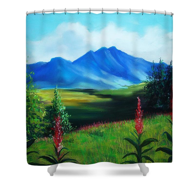 Alaska Shower Curtain featuring the pastel Alaska by Melinda Etzold