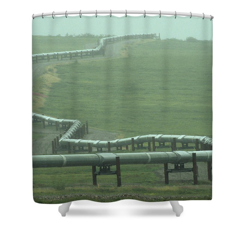Nobody Shower Curtain featuring the photograph Alaska Pipeline Snakes Its Way by Michael S. Quinton