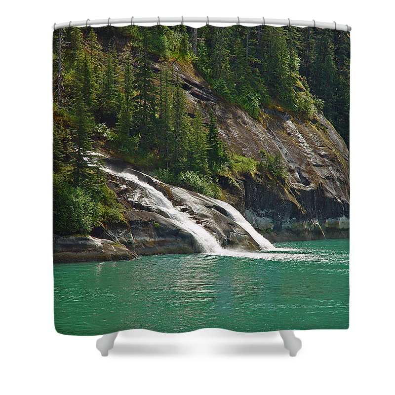 Waterfall Shower Curtain featuring the photograph Alaska Tracy Arm by Heather Coen