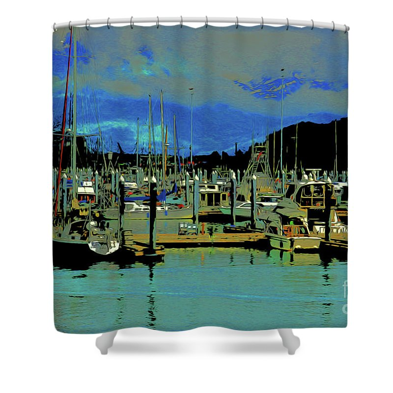 Alaskan Harbor 7 Shower Curtain featuring the digital art Alaskan Harbor 7 by Chris Taggart