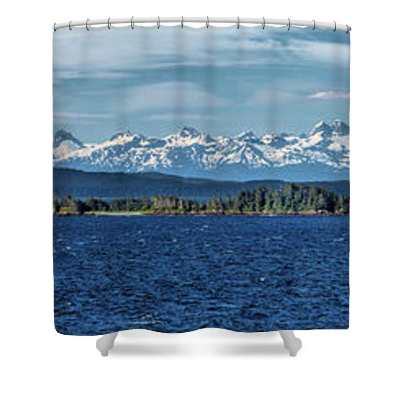 Alaska Landscape Shower Curtain featuring the photograph Alaskan Mountain Panorama by Martin Belan