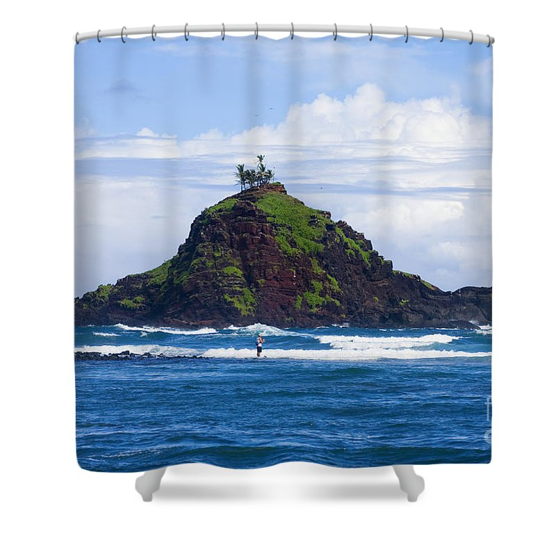 Alau Shower Curtain featuring the photograph Alau Islet, Fisherman by Ron Dahlquist - Printscapes