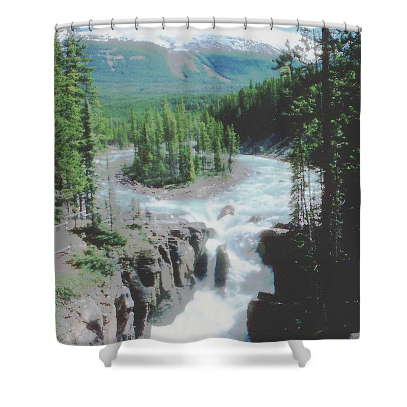 Alberta Shower Curtain featuring the photograph Alberta Island Torrent by Ron Swonger