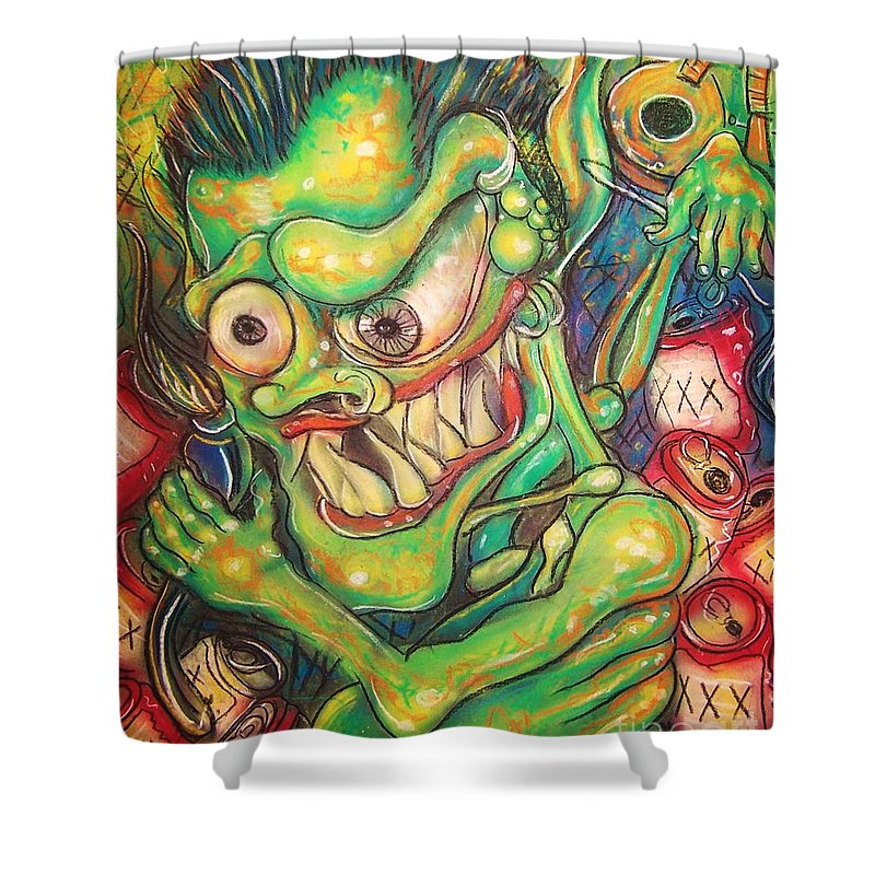 Beer Shower Curtain featuring the painting Alcoholic Demon by Americo Salazar