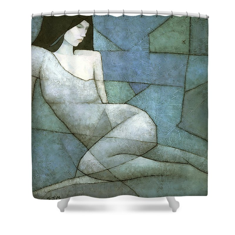 Original Shower Curtain featuring the painting Alcyone by Steve Mitchell