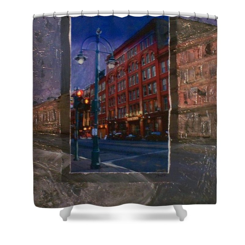 Ale House Shower Curtain featuring the mixed media Ale House And Street Lamp by Anita Burgermeister