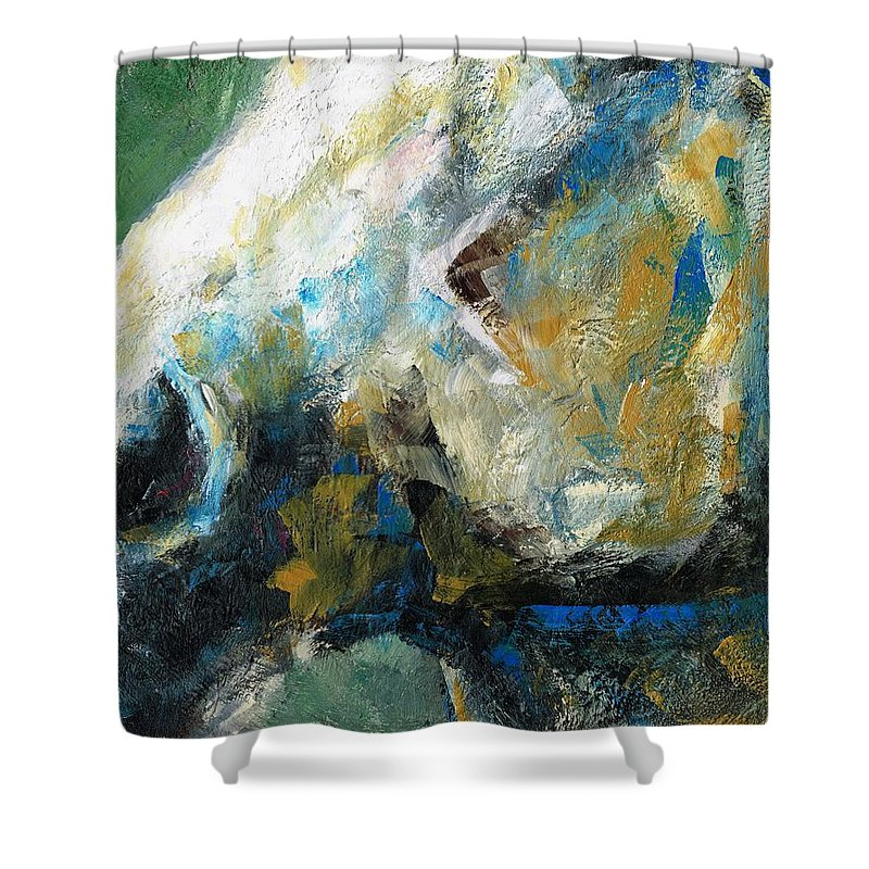 Horses Shower Curtain featuring the painting Alerted by Frances Marino