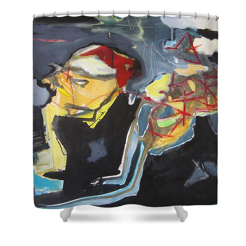 Abstract Paintings Shower Curtain featuring the painting Alexander Trail by Seon-Jeong Kim